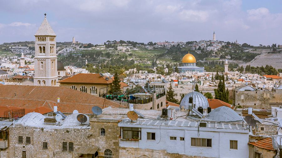 A bird's eye view of Jerusalem - the golden Dome of the Rock glitters in the