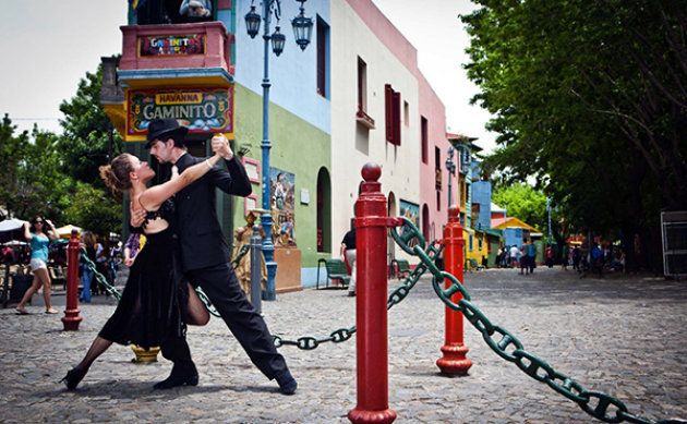 Tango on the streets of La Boca, Buenos Aires.