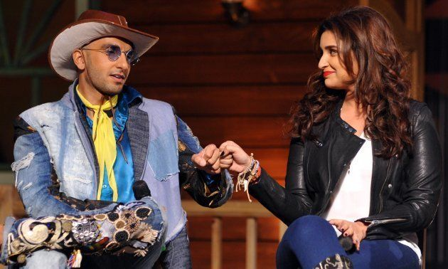 Ranveer Singh (L) and Parineeti Chopra (R) during the promotions of Kill Dil