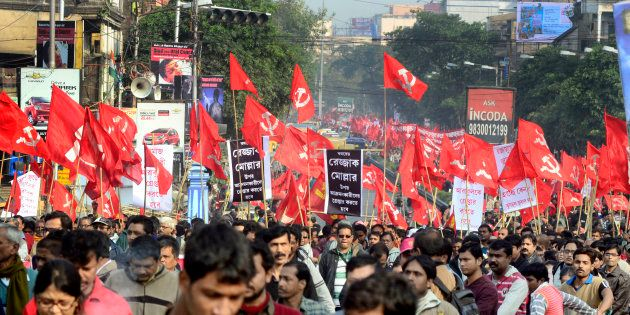 A Left Front protest rally in
