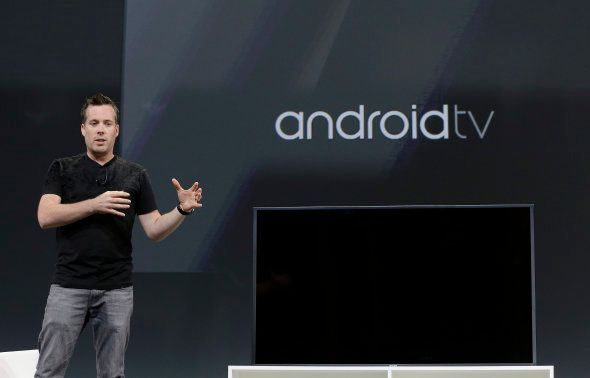 Dave Burke, director of engineering at Android, speaks about Android TV during the Google I/O 2014 keynote...