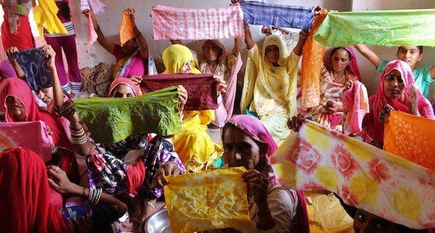 Women of Nosariya village in Rajasthan at a workshop to learn the art of tie and dye. (Photo by Jigyasa