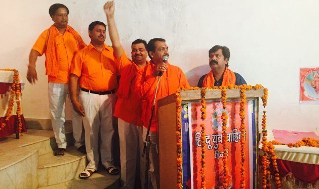 HYV's Nagendra Singh Tomar addresses a meeting in