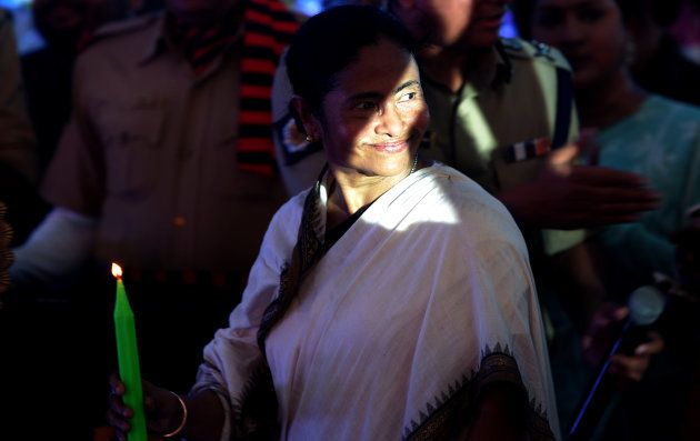 The chief minster of eastern West Bengal state, Mamata Banerjee gestures as she attends a function on...