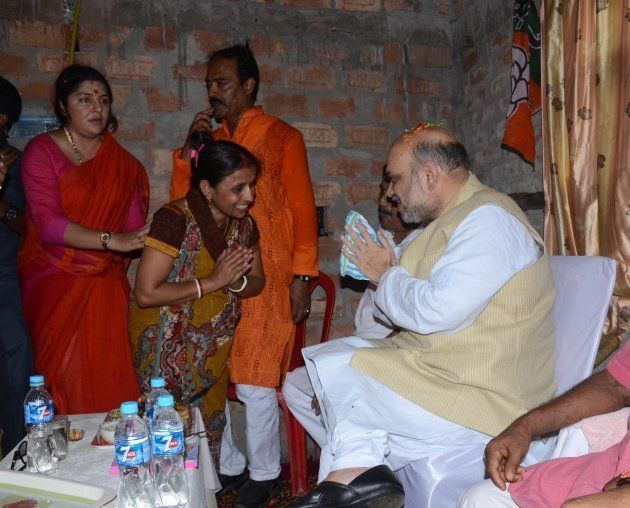 National President of Bharatiya Janata Party (BJP), Amit Shah meets the party wokers during the visit...
