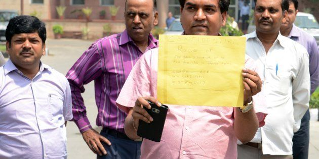Sacked AAP Minister Kapil Mishra outside ACB (Anti Corruption Branch) office, on May 8, 2017 in New Delhi,