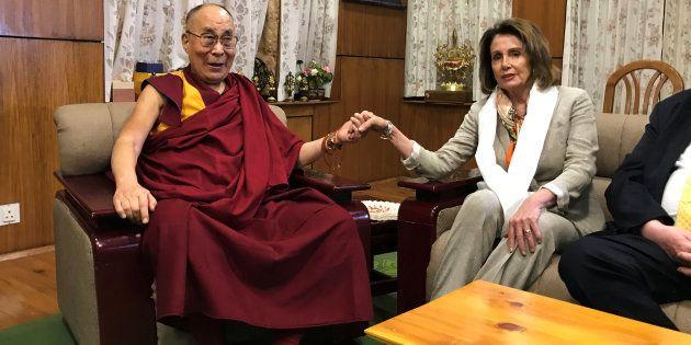 US House Minority Leader Nancy Pelosi meets Tibetan spiritual leader the Dalai Lama at his headquarters...