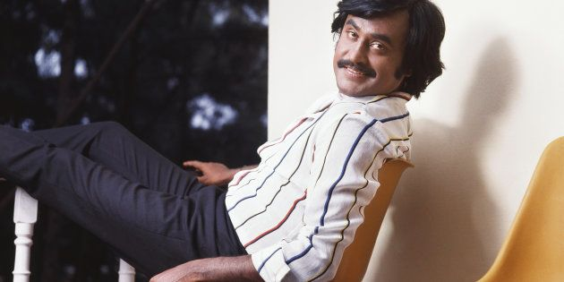 1985, Portrait of Indian film actor Rajinikanth. (Photo by Dinodia Photos/Getty