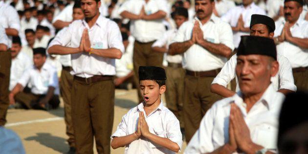 Volunteers of Hindu nationalist Rashtriya Swayamsevak Sangh (RSS), or the National Volunteers Force,...