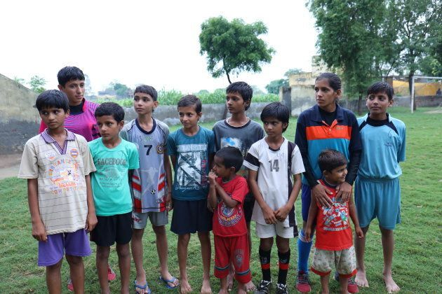 Anjali, 12, Sandhya, 10, Sneha, 9, Niyati, 6, Ritika,5, Kafin, 3, are sisters. They all play in the football