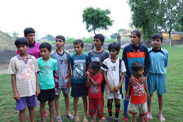 Anjali, 12, Sandhya, 10, Sneha, 9, Niyati, 6, Ritika,5, Kafin, 3, are sisters. They all play in the football team.