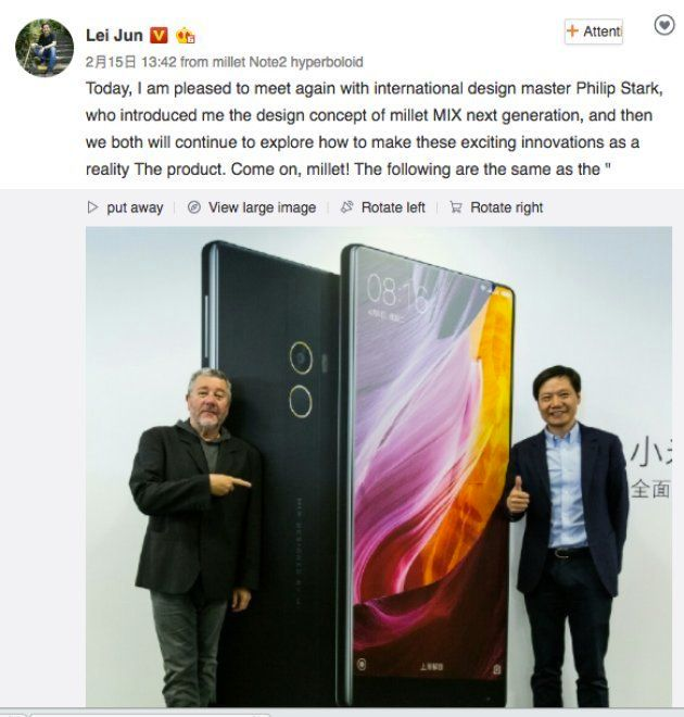 Xiaomi CEO Confirms Working On Mi Mix's Successor With Designer Phillipe