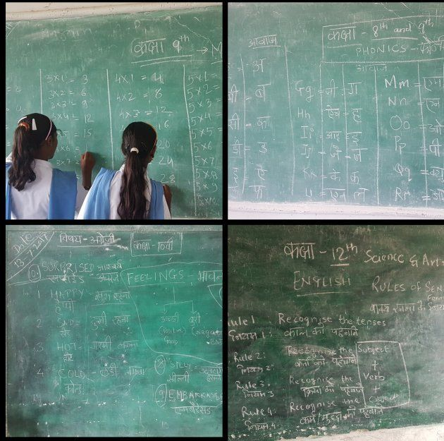 Secondary school students learning basic maths and english