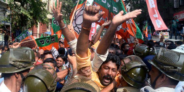 BJP Workers, Cops Injured As Protest In Kolkata Turns