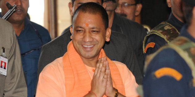 Uttar Pradesh Chief Minister Yogi Adityanath going for 2nd Cabinet meeting at Lok Bhavan on April 11,...