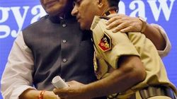 Rajnath Singh Hugs BSF Jawan With 85% Disabilities In A Rare Break From