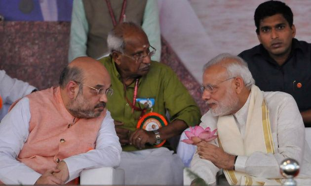 Prime Minister Narendra Modi with BJP President Amit Shah during the BJP public meeting, on September...