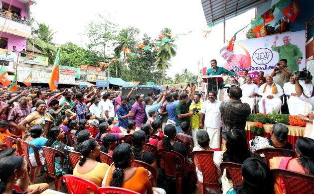 Kerala film actor Suresh Gopi campaigning for BJP candidate O Rajagopala at Aruvikkara By- Election on...