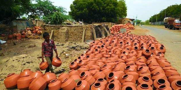 Pots on display for sale at Sarkhej