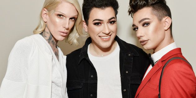 Jeffree Star, Manny Gutierrez and James Charles celebrate The Launch Of KKW Beauty on June 20, 2017 in...
