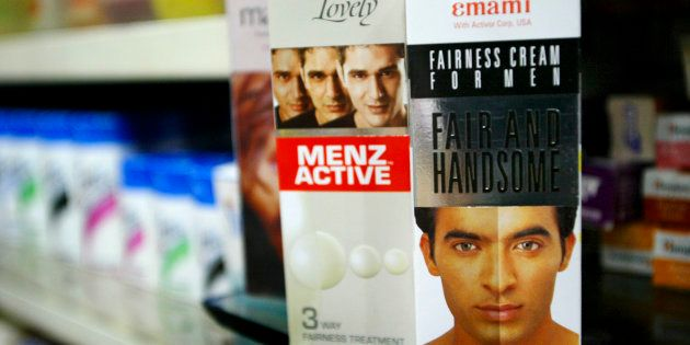 Fair and Lovely Menz Active and Fair and Handsome Fairness Cream for Men are displayed at the Anand General...