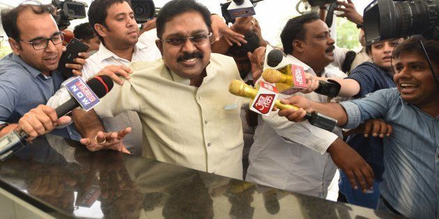AIADMK leader T. T. V. Dinakaran arrives to appear before Delhi Police for questioning in connection...