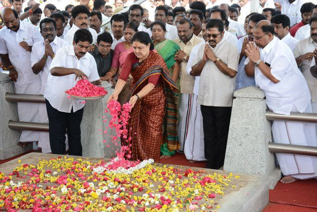 All India Anna Dravida Munnetra Kazhagam (AIADMK) leader VK Sasikala pays her respects at the memorial...