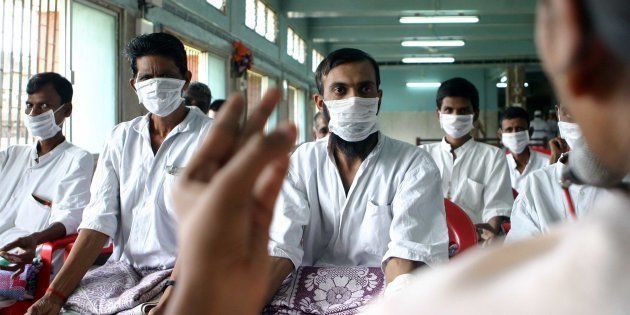 MUMBAI, INDIA - AUGUST 25, 2006: Diseases Patients with Tuberculosis undergoing Yoga therapy at Sewri...