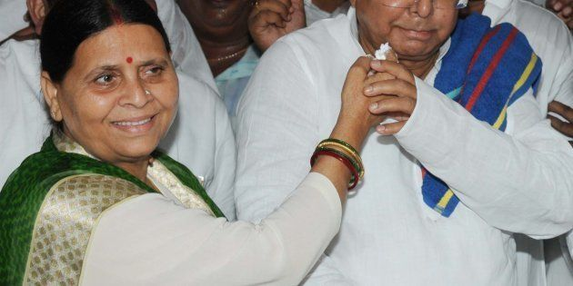 RJD Chief Lalu Prasad Yadav Lalu Yadav celebrated his 69th birthday with his wife, Rabri Devi, on June...