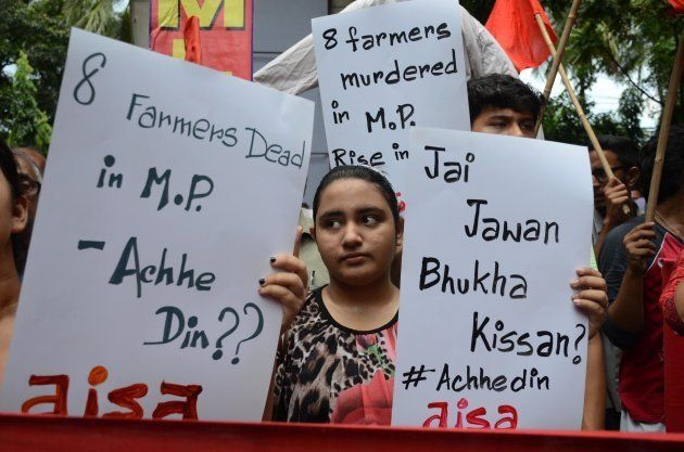 Activists of Communist Party of India (MarxistLeninist) protest against killing of five farmers of Mandsaur...