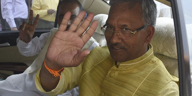 NEW DELHI, INDIA - MARCH 22: Uttarakhand Chief Minister Trivendra Singh Rawat leaves after meeting with...