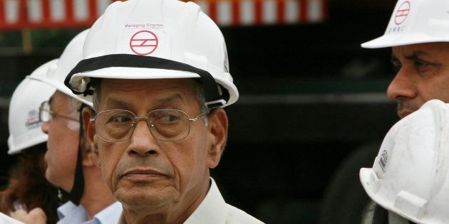 Delhi Metro Rail Corporation (DMRC) chief Elattuvalapil Sreedharan, 77, reacts during his visit at the...