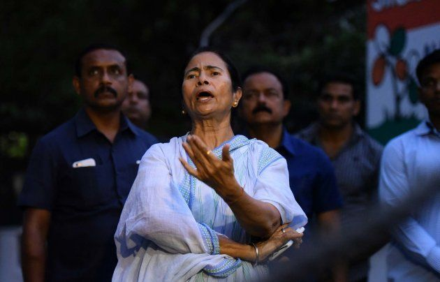 West Bengal Chief Minister Mamata Banerjee after meeting with Delhi Chief Minister Arvind Kejriwal to...
