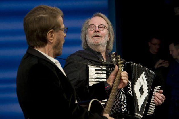 ABBA's Bjorn (left) and Benny rehearse with rehearses with the cast of Mamma Mia before performing with...