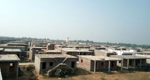 Sturdy brick houses were constructed at relocation site in New Kirtipur. (Photo by M. Basudev