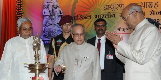 President Pranab Mukherjee with Bihar Governor Ram Nath Kovind and Chief Minister Nitish Kumar inaugurating...