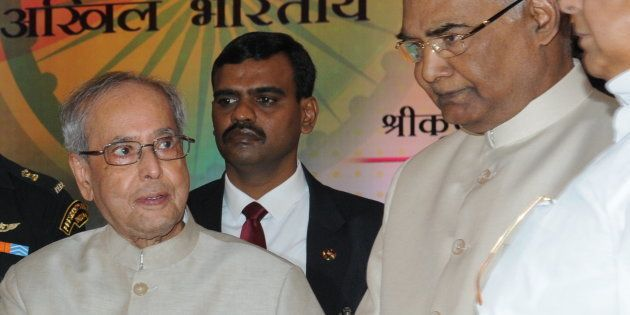 President Pranab Mukherjee with Bihar Governor Ram Nath