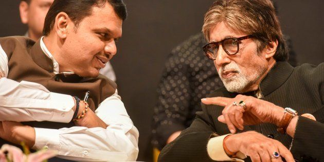 Bollywood actor Amitabh Bachchan and Chief Minister of Maharashtra Devendra