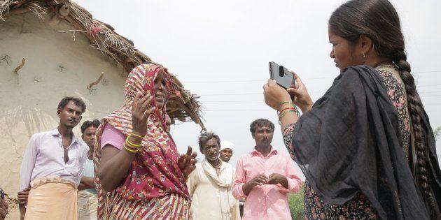 Grassroots journalist Meera Devi, at work