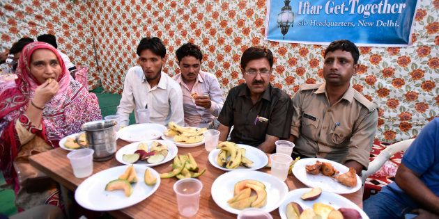Members of the families of the Mob lynching victims during an Iftar get-together at Students Islamic...