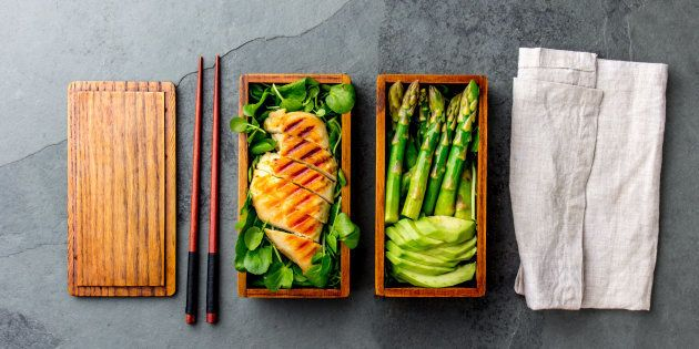 Balanced healthy lunch of grilled chicken and avocado with asparagus and green