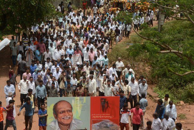 Mourners follow the funeral procession for scholar MM Kalburgi as he is taken to be buried at Karnataka...