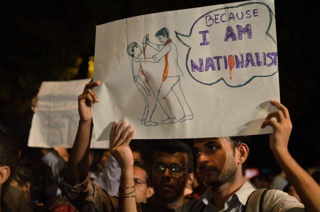 People attend a 'Not in my Name' protest against spate of anti-muslim killings in India, at Jantar Mantar...