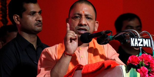 Yogi Adityanath, Chief Minister of India's most populous state of Uttar Pradesh, addresses the audience...
