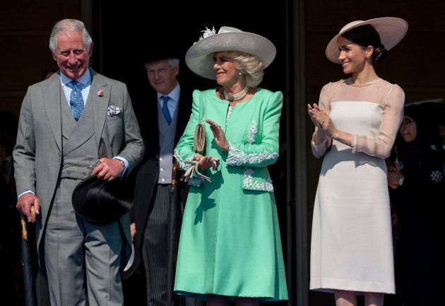 Prince Charles, Camilla, Duchess of Cornwall, and Meghan Markle during The Prince of Wales' 70th Birthday Patronage Celebration held at Buckingham Palace on May 22.