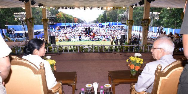 Mamata Banerjee (L) and West Bengal Bengal Governor Keshari Nath Tripathi during her swearing-in ceremony...