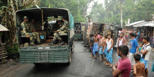 Heavy Police and Paramilitary deployment in Baduria after protests over an objectionable social media...