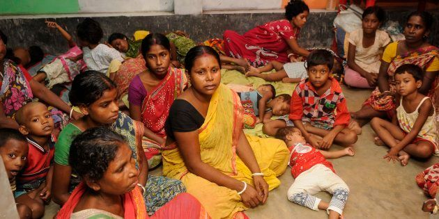 Temporary relief camps run by locals for the people affected by communal violence during protests over...