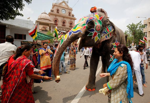 Devotees give money to a decorated elephant outside the Jagannath temple on the eve of the annual Rath...
