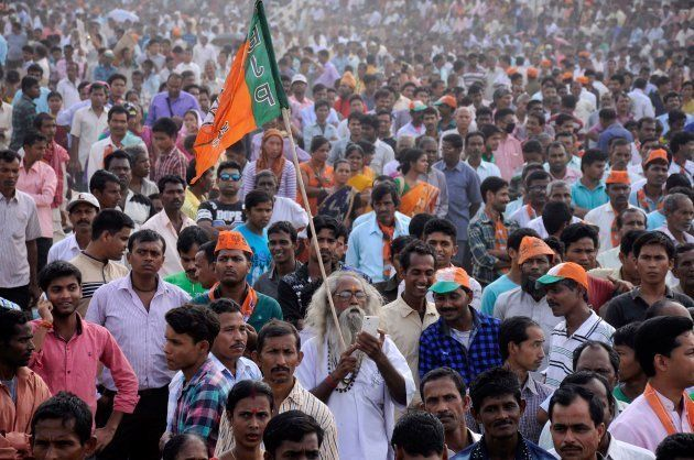 March 10, 2017: Supporters of the Bharatiya Janata Party (BJP) attend a mass protest rally against the...